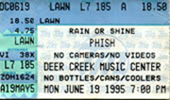Andy Gadiel's Stub from His First Phish Show
